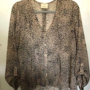 Women's Pins and Needle Cheetah print Blouse L
